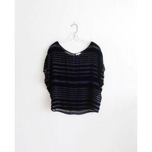 Joie Black Velvet Burnout Striped Blouse sz XS